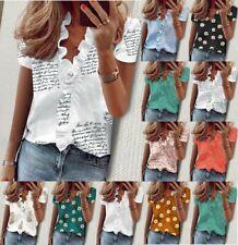 Womens V Neck Ruffle Short Sleeve T Shirt Ladies Casual Basic Blouse Shirts Tops