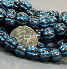 Large Hole 8 mm Round Beads w/3 mm Hole, Opaque Black w/Turquoise Wash, 0155