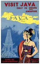 Visita Java viajes Publicidad Cartel reproducción