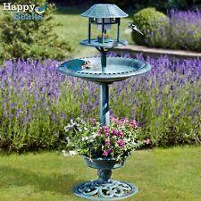 Garden Bird Bath Feeding Station Hotel Solar Powered Light Planter - Happy Beaks