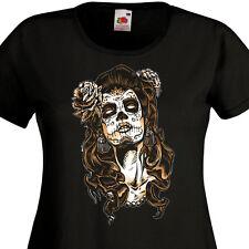 T-shirt femme Catrina Mexique Tattoo Maquillage Santa Muerte Pin-Up Tête de mort