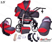 15 Sportive x2 Grigio - Rosso cerchi Passeggino Trio completo di Accessori Pr...