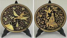 Damascene Gold Bird & Church Design Round Decorative Plate by Midas Toledo Spain