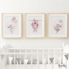 Nursery Wall Art Prints Bedroom Ballerina Bunny with balloons. Girl Bedroom art.