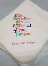 Children's baby blessing rainbow Personalized birthday Fleece Blanket Throw Gift