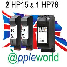 2 x HP15 & 1 X HP78 Nero & Colore Alto Pac cartucce d'inchiostro Deskjet Officejet PSC