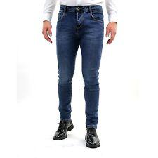 Pantalone Uomo Jeans Elasticizzato Cinque Tasche Invernale Chino Slim Denim Blu