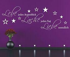 X1934 Wandtattoo Spruch - Lebe jeden Augenblick Lache Tag Liebe Wandaufkleber