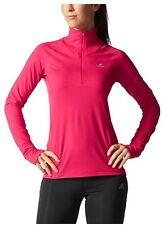 Adidas Women's L/S 1-2 Zip Pullover Jacket Berry