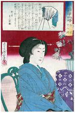 Japanese POSTER.Stylish Graphics.Geisha Portrait.Asia art.Room Decor141i