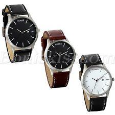 Men's Simple Casual Big Scale Dial Leather Strap Date Quartz Wrist Watch Watches