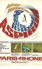 PUBLICITE ADVERTISING 1964  PARIS-RHONE aspirateur &  cireuses