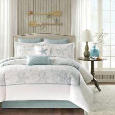 Posh 4pc Coastal Blue & White Beach Cotton Comforter Set AND Decorative Shams