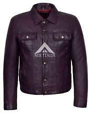 Mens Trucker Jacket Cherry American Western Genuine Lambskin Leather Jacket 1280