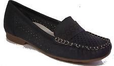 RIEKER Schuhe Halbschuhe Mokassin echt Leder blau  Latexsohle NEU