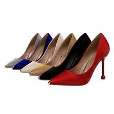3b52c6a8e8a7 Anuncio nuevoModa Para Mujer ajustada de tacón alto zapatos de raso en  punta de metal bombas Classics G182