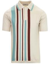 Nuevo Mod para hombre 60 50s Retro De Rayas Camisa Polo Tejido Inglaterra Madcap Abedul MC423