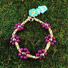 HOTI Hemp Handmade Natural Purple Wood Metal Flowers Anklet Ankle Bracelet NWT