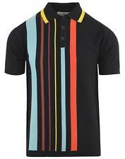 Nuevo Mod para hombre 60 50s Retro De Rayas Camisa Polo de punto Madcap Bauhaus Negro MC423