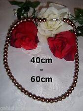 kupfergoldene Glasperlenkette /8mm Perlen Collier Halskette Schmuck Perlenkette