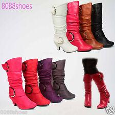 Youth Girls Kids' Dress Round Toe  Low Heel Zipper Blucks Boot Shoes  Size 9 - 4
