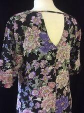 BLACK & FLORAL PRINT A LINE SHIFT DRESS DETAILED TO BACK 8 - 10 - 12 - 14