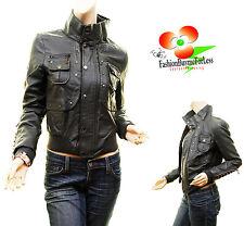 Black Motorcycle Biker PU Faux Leather Aviator Bomber Jacket Outerwear Coat L XL