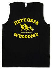 REFUGEES WELCOME TANK TOP Demo Pro Willkommen Flüchtlinge Links Asyl Politik