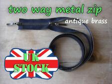 Métal Noir Zip Deux Way Zip No5 laiton antique Zipper 65 - 85 cm double fermeture à glissière