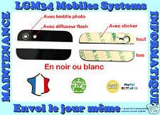 VITRE ARRIERE IPHONE 5 HAUT ET BAS, NOIR OU BLANC,  AVEC LENTILLES + STICKER
