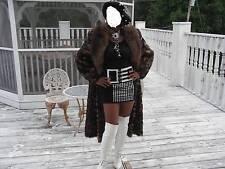 Full Length Tanuki Raccoon & spotted print Fur Coat S-M