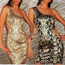 SeXy Miss Damen Mini Kleid one Shoulder Glamour Gold Print Dress 34/36 36/38 NEU