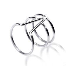MATERIA Damen V-Ring 925 Sterling Silber breit filigran modern 16-20mm