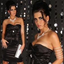 Sexy satin Bandeau Abito-vestito astuccio con strass nero #ak036