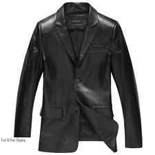 Bod & Christensen Men's Black Leather Blazer Coat Jacket Soft Lambskin Size42-44
