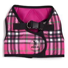The Worthy Dog Printed SideKick Harness Pink Plaid 9 Extended Sizes Tiny - XXXL