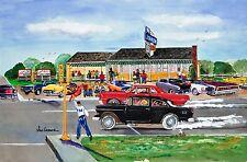Drag Racing Art Johnson's Art Print Hot Street Rod Race 1955 Chevy GTO Norwood