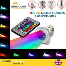 Cambio de color MR16 GU10 E14 E27 B22 RGB LED Control Remoto IR Bombillas Spotlight