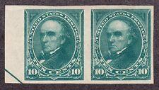 US 273P5 10c Webster Imperf Pair on Stamp Paper PH OG SCV $325