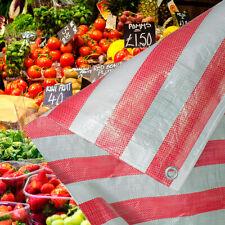 Red and White Stripe Heavy Duty Tarpaulin Market Stall Cover Builders Tarp Sheet