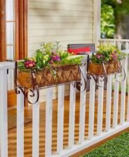 Unique HEART SCROLL RAIL FENCE GATE DECK BALCONY METAL PLANTER Flower Porch Art