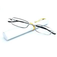 Reading Glasses Ultra Slim Metal Frame Pocket Clip Pen Tube Case RL801 Silver