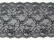 """Laces Galore ~   Soft Stretch Black Lace 17cm/6.75"""" Lingerie Craft Trim"""