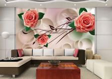 3D Rouge Rose 39 Photo Papier Peint en Autocollant Murale Plafond Chambre Art