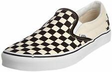 Vans Classic Blanco Negro Cuadros De Lona Unisex Sin Cordones Tenis Zapatos
