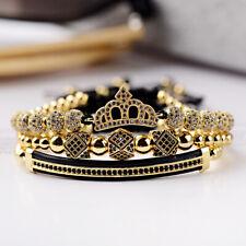 Luxury Fashion Men Women Jewelry CZ Ball Crown Charm Gift Copper Bead Bracelets