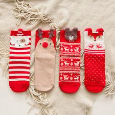 Women's Christmas Socks Cartoon Animal Winter Cotton Elastic Tube Socks