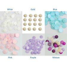 100 x 10 mm Dos Plat Fleur Résine Perles Craft Mariage Scrapbook Gems