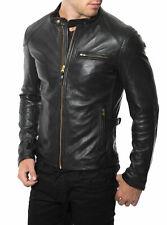 New Men's Pure lambskin leather jacket inside diamon pattern slim fit casual