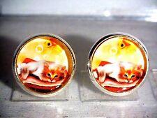 Ohrstecker Katze Tiere Damen Ohrringe Ohrschmuck Modeschmuck Glas Orange